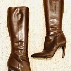 ❤️ SEXY 100% Leather Brown Heel Boots‼️